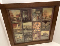 VTG Home Interior Homco Collage Window Pane Rustic Picture B Mitchell  church