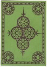 Playing Cards 1 Swap Card - Old Antique Wide Square Corner KALEIDOSCOPE green