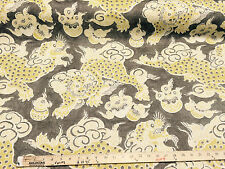 Dunmore Dragons Yellow, Beige Linen Upholstery Fabric by PK Lifestyles draperys