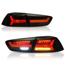 VLAND 2* Full LED Smoked Tail Lights Fit For Mitsubishi Lancer/EVO X 2008-2018
