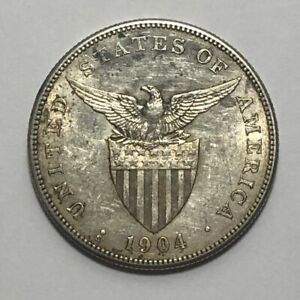 1904-S Silver One Peso Philippines US Administration ~ About Uncirculated AU