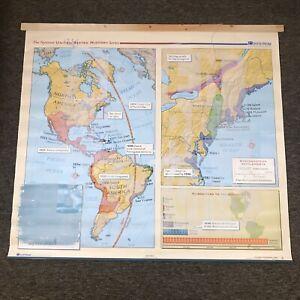 Custom Painted Nystrom US History Map School Wall Decor European Settlements