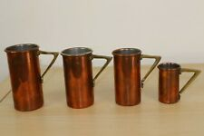 Set Of 4 Vintage Copper Measuring Cups with Brass Handle Kitchenalia Collectable