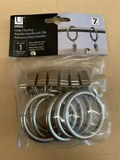 """UMBRA 1.5"""" Curtain Drapery Metal Clip Rings Pewter Color 7-pc NEW"""
