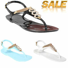 Womens Ladies Diamante Jelly Flat Sandals Girls Summer Flip Flops Beach Shoes