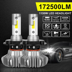 Upgrade H4 9003 HB2 72W 9000LM LED Headlight Bulbs Hi-Low Beam Lamps 6500K White