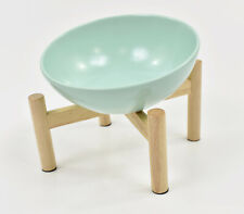 New listing Mint Aqua Glazed Ceramic Tilted Elevated Raised Cat Bowl Dish w/ Wooden Stand