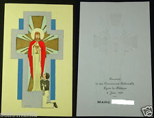 OLD FIRST COMMUNION REMEMBRANCE HOLY CARD LYCEE BETHUNE YEAR 1957 FRANCE  CC1200