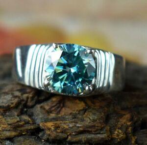 Rare Design 4.89 Ct Blue Diamond Solitaire Men's Ring-Men's Latest Collection