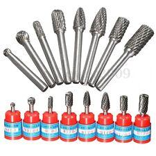 8x 1/4'' Tungsten Carbide Rotary Burr Drill Bit CNC Engraving Cutter Tool Set US