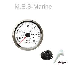 Waterproof Boat Speedo 55MPH Gauge Marine Speedometer 85mm with Pitot Kit White