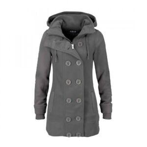 Kangaroos Damen Fleece Jacke mit Kapuze grau