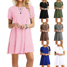 Women Summer Crew Neck Midi Dress Casual Solid Short Sleeve Loose Beach Sundress
