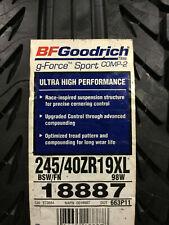 1 New 245 40 19 BFGoodrich g-Force Sport Comp-2 Tire