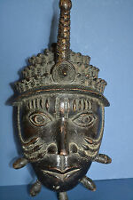 V. Large  Mid 20th Century African Benin Tribal Bronze Mask,Lost Wax Cast,c 1950