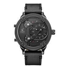 Weide Luxury Men's Multi-time zone Quartz Waterproof Leather Band Military Watch