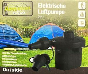 Elektrische Luftpumpe 230V 3 Aufsätze Pool Luftmatratze Schlauchboot Pumpe