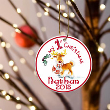 """Babys First Christmas Reindeer Scarf Personalized Ornament 3"""" Flat One side"""