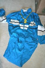 80s 90s Hip Hop Costume Outfit Vtg Track Suit Gold Chain Necklace Size Large
