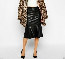 Women's Genuine Lambskin Leather Skirt, Real Plus Size Black Long Leather Skirt