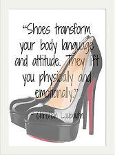 Cotización de zapatos de diseñador Christian Louboutin inspirador A4 pared arte cartel impresión
