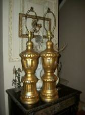 Hollywood Regency Mcm Italian Tole Florentine Gilt Plaster Lamps Glam Paris Apt