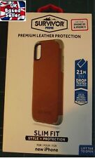 Genuine Griffin Survivor Prime Leather Rugged Back Case Cover iPhone X/XS -Brown