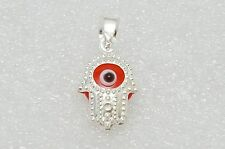 Evil Eye Hamsa Pendant Necklace 925 Sterling Silver Glass Bead Silver Bar