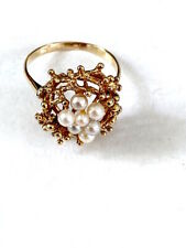 Impresionante Y Diseño Retro 9CT oro anillo de perla talla o caracteriza Hecho En Inglaterra