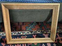 LARGE VTG CARVED Blonde WOOD PICTURE FRAME MCM VTG 16x12 OPENING MEXICO RETRO