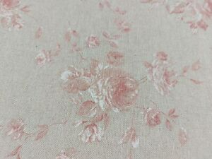 Vintage French Zen Faded Roses Petite Floral Linen Fabric in Red | Curtains