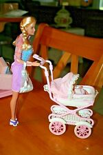 1999 Walking Barbie and Baby Krissy Stroller Set/Used-Sold As Is