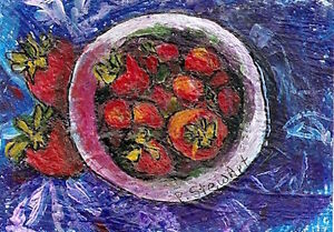 ACEO Still Life Ripe Red Strawberries Naive Acrylic Art painting Penny StewArt