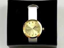 Reloj Mujer Color Oro Movimiento de Cuarzo Regalo en Caja Correa Blanca