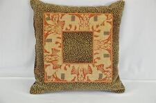 New Handmade Custom Pillow, Leopard & Elephant Jacquard with Black Shirred Back