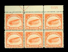 US 1918  AIRMAIL - Curtiss Jenny  6c yellow  Sc # C1 mint MH/NH plate block of 6