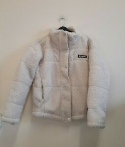 Columbia lodge baffled sherpa fleece jacket cream size M {Z163}