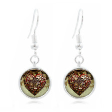 Steampunk Heart glass Frea Earrings Art Photo Tibet silver Earring Jewelry #232