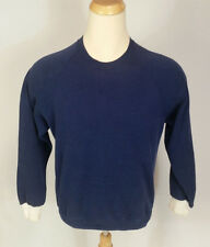 White Cuffs Vtg distressed blank blue Sweatshirt USA 50/50 70s 80s XL/L two tone