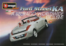 Bburago-November 2002-Ford KA-Ford Focus-Fiat 500 Abarth-BMW Z8-Faltblatt-neu