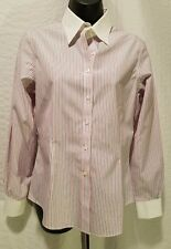 Brooks Brothers White Red & Blue Striped Non-Iron Stretch Collar Shirt Size 6