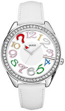 New with Tag Guess $110 Crystal Transparent Color Dial Womens Watch U11066L1 FS