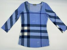 Burberry Brit Nova Check Scoop Neck 3/4 Sleeve Shirt Blue Women's Size XS