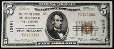 1929 $5.00 Dollars Nat'l Currency, Twelfth St. National Bank of St. Louis, MO!