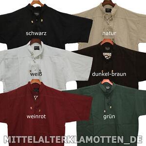 KURZARM Mittelalter Sommer Biker Schnür Hemd kurzärmelig Mittelalterhemd, S-XXXL