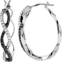14k White Gold 1/2 CTW Black and White Diamond Hoop Earrings