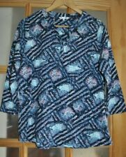 DASH Abstract patterned Cotton Stretch Top- Blue & Pink - 3/4 sleeves - Size 14
