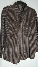 New Geer 3XL  Men's Button Embroidered Front Shirt LS Striped Standard Cuff