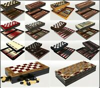 BACKGAMMON SET - LARGE WOODEN BOARD - TRAVEL GAME - DOUBLING DICE