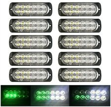 10x 12LED Car Truck Emergency Warning Hazard Flash Strobe Light White Green 12V